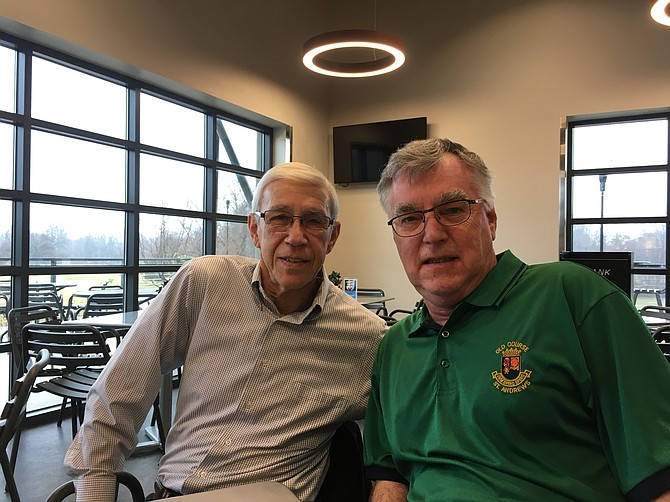 Jerry Gold, left, and Gary Falconer are the head of the social committee in the Burke Lake Seniors Golf Club.