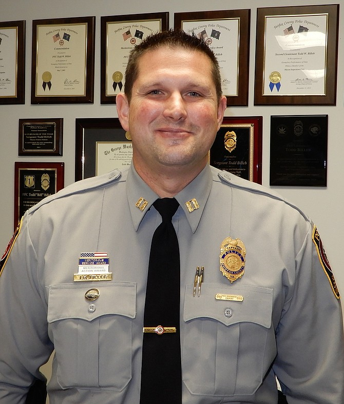 Sully District Police Station's leader, Capt. Todd Billeb, has several commendations and awards.