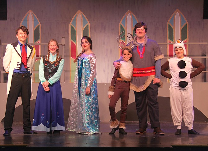 "The cast of ACCT's production of Disney's ""Frozen Jr."" (from left to right): Bill Barnes (Hans), Mary Margaret Bargery (Anna), Patricia Villarroel Navaez  (Elsa), Andrew Tankersley  (Sven), Bret Medley (Kristoff), and Jack St. Pierre (Olaf)."