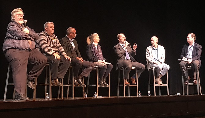 From left: Panelists Robert Balfanz, Jaime Castellano, Pedro Noguera, Heidi Jacobs, Jonathan Plucker and Larry Rosenstock with moderator Andrew Rotherham.