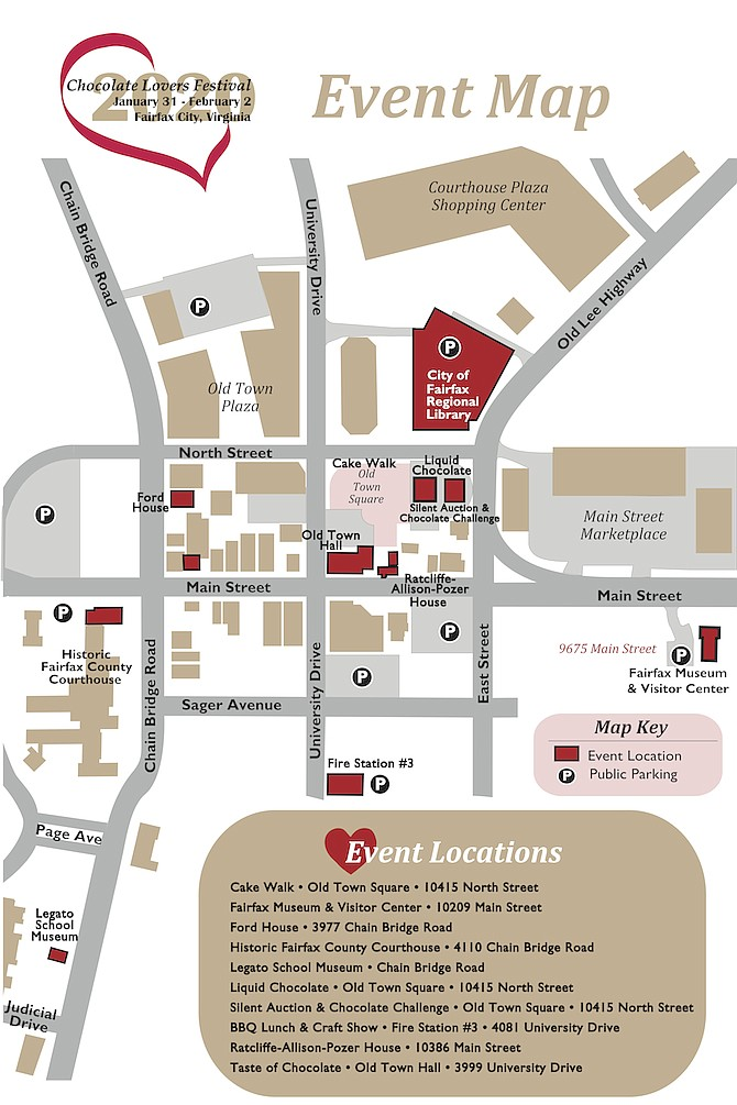 Map of Chocolate Lovers Festival event sites.