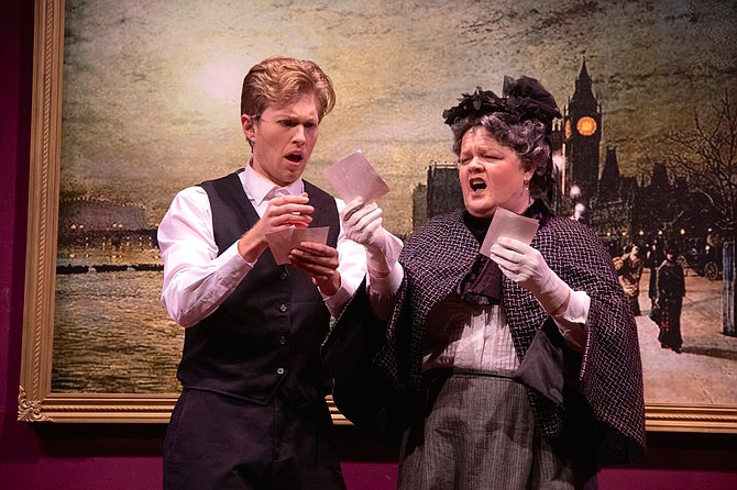 "Drew Goins as Monty and Kristen Jepperson as Miss Shingle in LTA's production of ""A Gentleman's Guide to Love and Murder."""