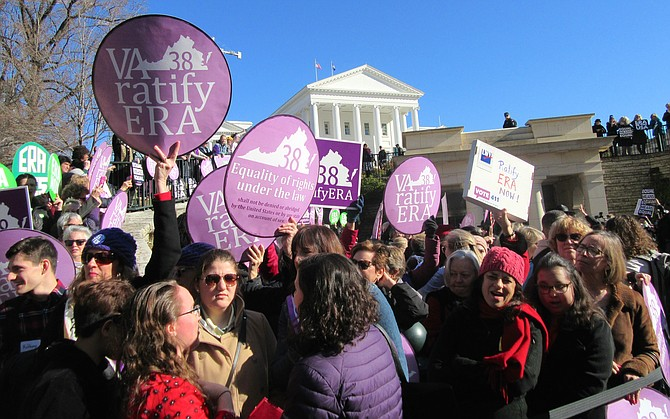 On January 9, 2020, advocates for the Equal Rights Amendment to the U.S. Constitution rallied in Richmond at the entrance to the state capitol as legislators entered to convene on the first day of the 2020 session.