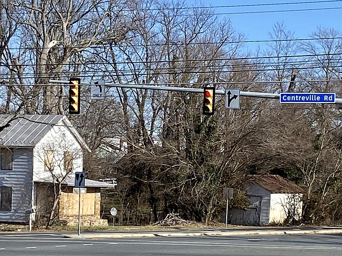 "Partial street view of the location of the proposed ""Floris Conservatory For Arts & Music,"" a Scimores Academy planned for 8.06 acres at the intersection of Centreville Road and West Ox in Greater Herndon's Hunter Mill District, taken Mon., Jan. 20, 2020."
