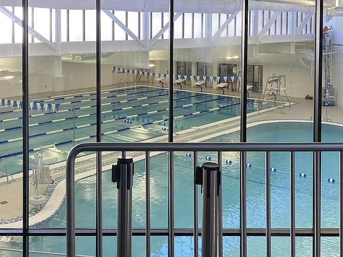 View from the first floor above the Terry L. Smith Aquatics Center at the Reston Community Center Hunters Woods.