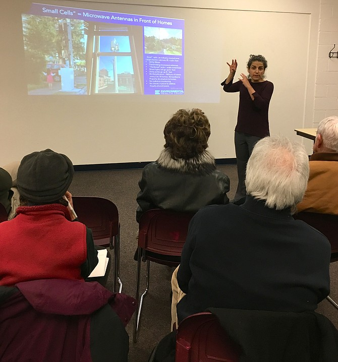 Theodora Scarato, an advocate for the Environmental Health Trust, presents information on the dangers of 5G technology at a meeting at Potomac Community Center Jan. 22.