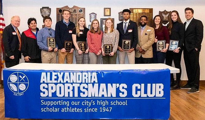 Eddie Longosz, right, Director of Scouting for the Washington Nationals, and Don Hughes, left, president of the Alexandria Sportsman's Club, honor the Athletes of the Month at the Jan. 22 ASC meeting at the Old Dominion Boat Club. Recognized were: Andrew Lavayen, SSSA Wrestling; Jared Cross, SSSA Basketball; Haley Sabol, EHS Basketball;  Darius Johnson, EHS Basketball; Ronan Lauinger, T.C. Williams Swimming; Caroline Schie, T.C. Williams Basketball; and Siobhan Chawk, Bishop Ireton Swim and Dive.