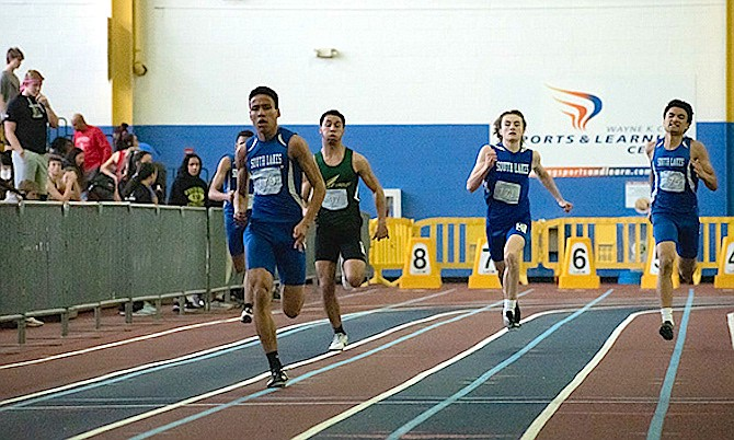 From left: South Lakes' Joshua Gregory, Tyler Benett, Jackson Cooley In 300 Meters at Liberty District Championship, Feb.1, 2020.
