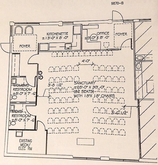 Floor plan of Faithful Life Church's new location at 9870 Main St.