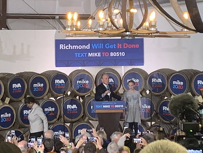Presidential candidate and former New York Mayor Mike Bloomberg was in Richmond looking for support from voters and from many of the lawmakers whose campaigns he helped fund.