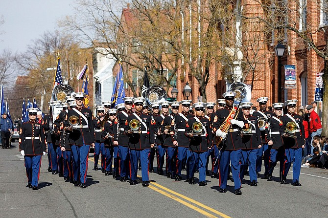 The Quantico Marine Corps Band marches through Old Town as part of the Feb. 17 George Washington Birthday Parade.