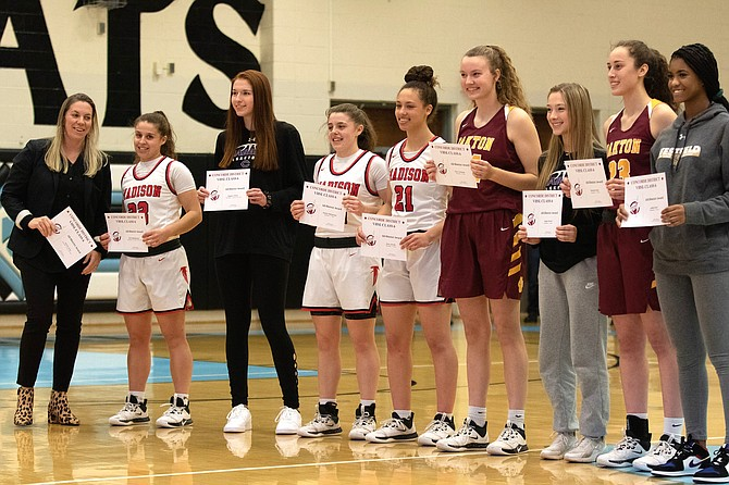 2020 Concorde All District Girls, from left: Coach of the Year Kirsten Stone; Madison Co-Players of the Year Tedi Makrigiorgos, Madison; Meghan O' Brien, Chantilly; Amalia Makrigiorgos, Madison; Grace Arnolie, Madison; Kara Vietmeyer, Oakton; Megan Baxter, Chantilly; Hannah Kaloi, Oakton; Gabby Reed, Westfield.