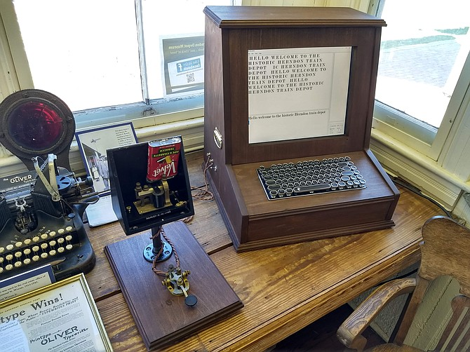 The new telegraph exhibit at the Herndon depot museum includes a telegraph key, sounder, and a computer through which messages are sent.