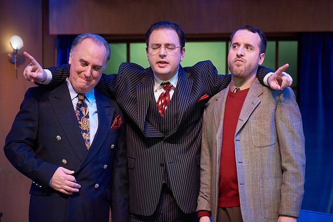 "Victor Fleming (Michael J. Fisher), David O. Selznick (Griffin Voltmann), and Ben Hecht (J.T. Spivy) star in LTA's production of ""Moonlight and Magnolias,"" now through March 21, 2020."