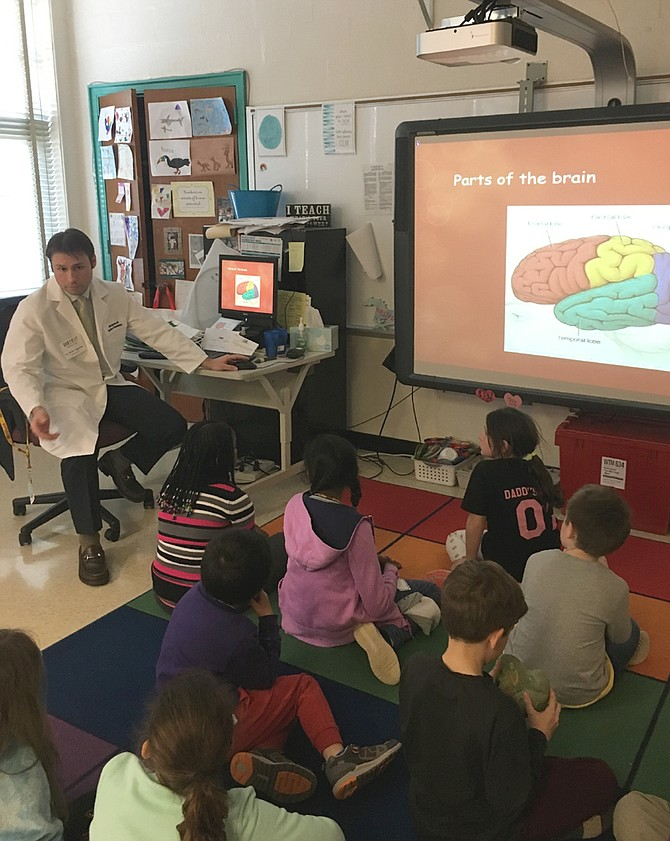 Students at Potomac Elementary School learned about the functions of the brain from Dr. Dimitri Sigounas, a brain surgeon and father of a PES kindergartener.