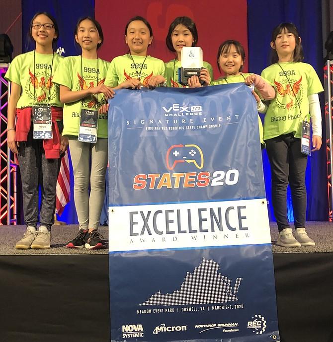 999A Rising Phoenix will represent the state of Virginia in the 2020 VEX Robotics World Championship – VEX IQ Challenge Elementary School Division.