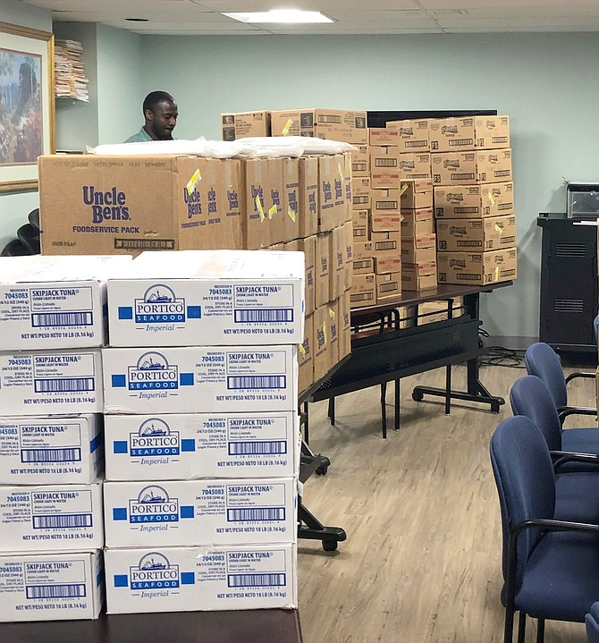 Meal kits await distribution to employees of Goodwin House Alexandria.
