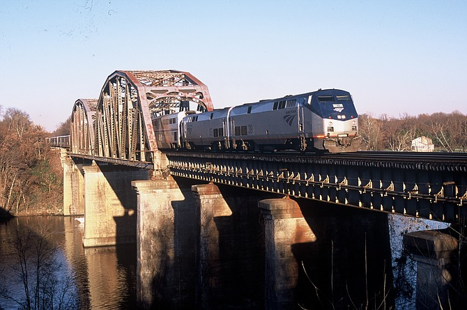 The Auto Train crossing the Occoquan River as it heads south.