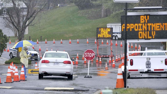 Arlington drive-through coronavirus sample testing site on Quincy Street. By appointment only, between 9 a.m.-3 p.m.