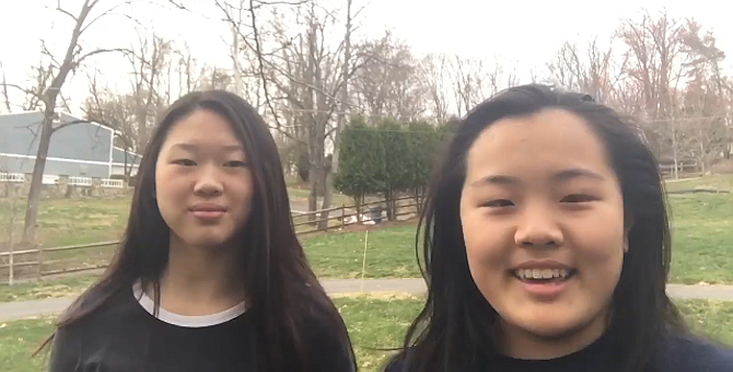 From left: Abigail Xu and Emily Sun, students at Langley High School, are shown in a video clip that they prepared for the Virtual Fairfax County Regional Science Fair.