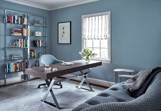 Create a clean and uncluttered  home office environment, says interior designer Tracy Morris.