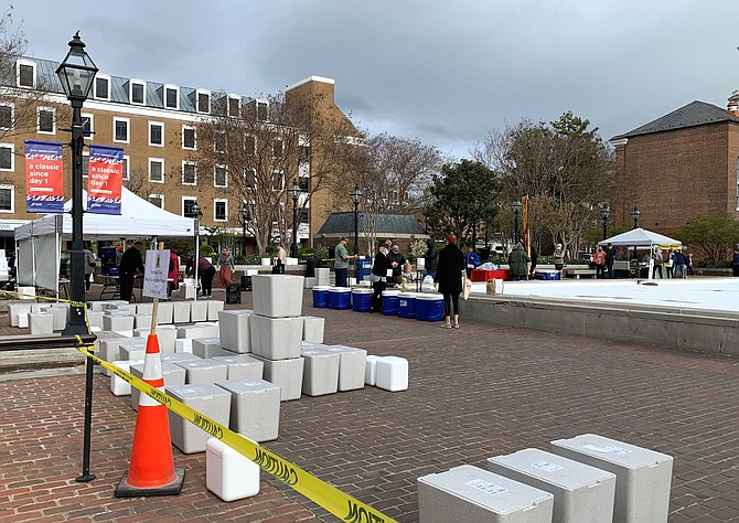 The Old Town Farmers Market, dating back to the 1700s, operated April 4 under strict guidelines set by Gov. Ralph Northam's Executive Order allowing food vendors to fulfill pre-orders only.