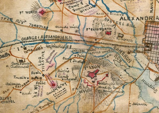 An old, hand-drawn map shows where the Civil War action occurred near present-day Jefferson Manor Park.