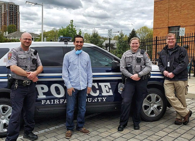 (From left) Patrolman First Class Rob Burch, co-owner of Pica Deli Caleb Max, Officer Amanda MacLaughlin and civilian Scott Bacon.