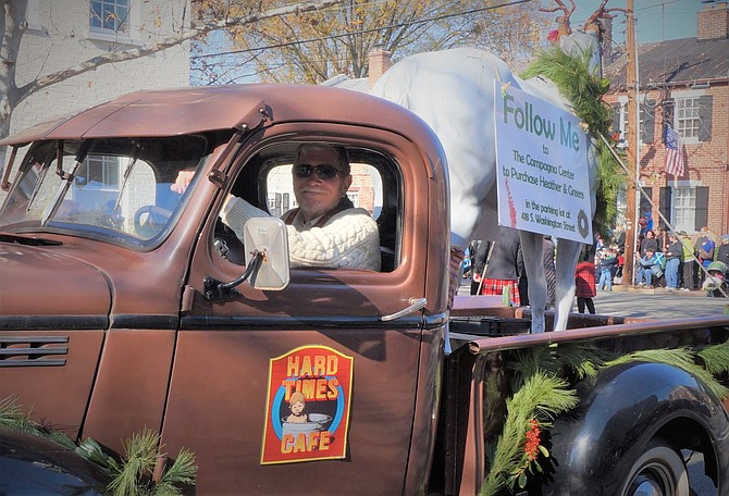 Fred Parker in his 1941 truck and the Hard Times Horse were a highlight of many local parades.