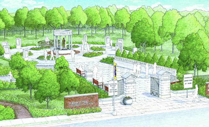 Architect's rendering illustrates Turning Point Suffragist Memorial plan before cost-cutting changes.