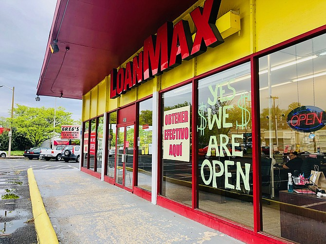 The LoanMax in Arlandria remains open during the stay-at-home order, offering loans to struggling families at more than 200 percent annual interest as unemployment claims skyrocket.