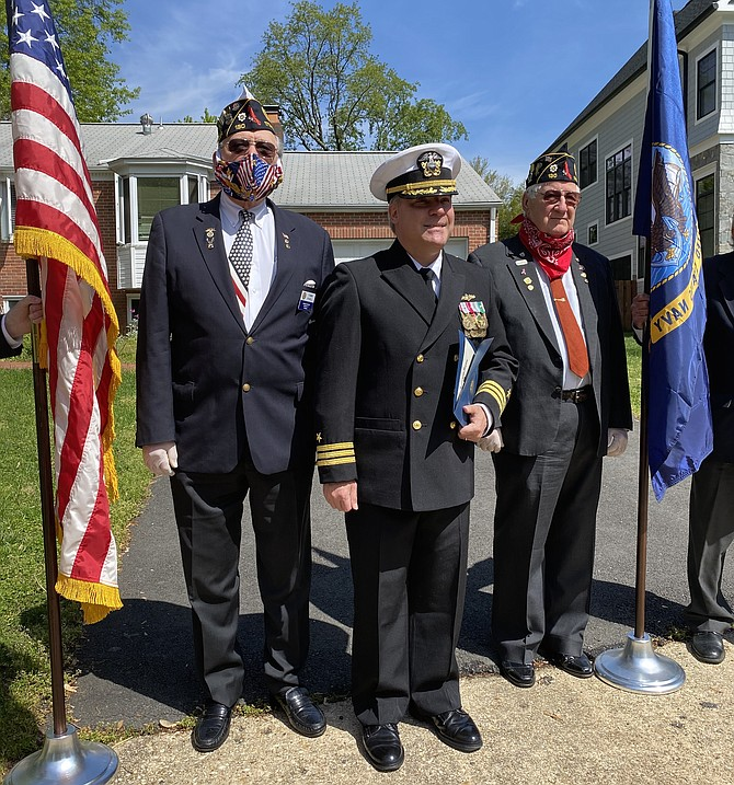 (From left) 17th District Finance Officer and 1st Vice Commander and Past 17th District and Post Commander Tommy Powell; Commander Franco Neto, United States Navy, Retired; and Commander of Post 130 Wayne Hines.