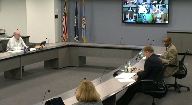 Fairfax County Board of Supervisors and staff meet socially distanced and remotely for the Wednesday, April 29 public hearing on the revised fiscal year (FY) 2021 budget proposal before them.