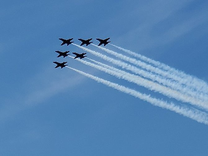 All healthcare professionals were honored Sunday, May 3 with a flyover of the Navy's Blue Angels and the Air Force's Thunderbirds. Photo from Suburban Hospital.
