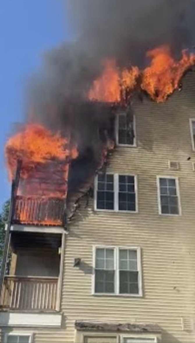 This fire at a Centreville apartment building was caused by fireplace ashes improperly discarded on a balcony.