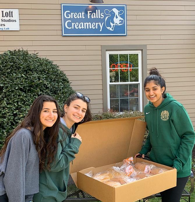 Great Falls Creamery donation pickup by Andrea Karam, Serena Karam, and Isabel Mathew.