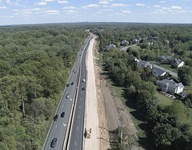 Traffic on Route 7 through Great Falls, Wolf Trap and Reston areas, where VDOT is widening the road from four to six lanes, at almost 4 p.m. last week.