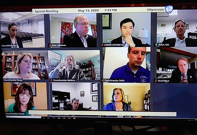 Online meeting participants included (top row, from left) City Clerk Melanie Crowder, City attorney Brian Lubkeman, Councilmember Sang Yi and City Manager Rob Stalzer; (middle row, from left) Councilmembers Jennifer Passey, Michael DeMarco and Jon Stehle, and Mayor David Meyer; and (bottom row, from left) Councilmember So Lim, Finance Director David Hodgkins and Councilmember Janice Miller.