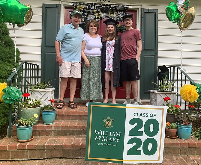 Juliana Mitchell, second from right, celebrates her graduation from the College of William and Mary  at her home May 16 with brother Alex and parents Dave and Maddie, who planned a surprise drive-by celebration for the graduate.