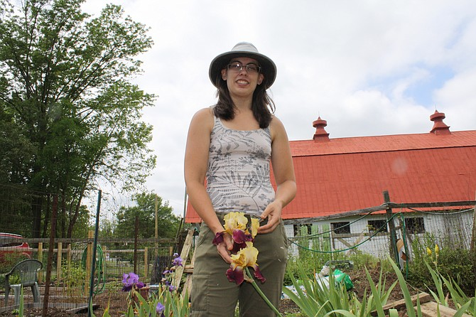 Kaela Mattson at her vegetable garden in Grist Mill Park.