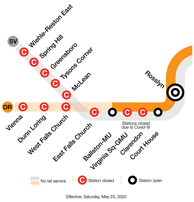 Metro map shows the closed stations starting last  Saturday.