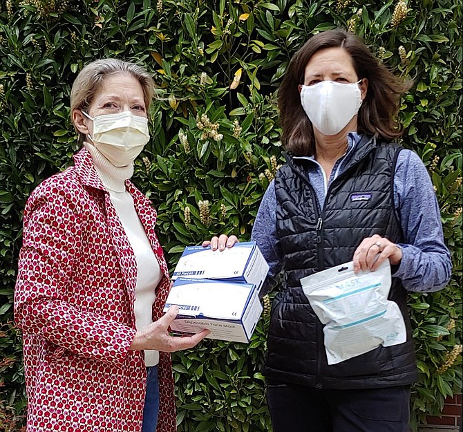 Oakton Women's Club donated 100 loop style masks and ten K95 (PPE) masks for Shepherd's Center's volunteers in the non-profit's newly formed Food Delivery Driver program to distribute to the seniors they serve. Pictured, from left, are Sheila Dunheime, Oakton Women's Club and Patti Vaughn, Vice Chair SC Board member.