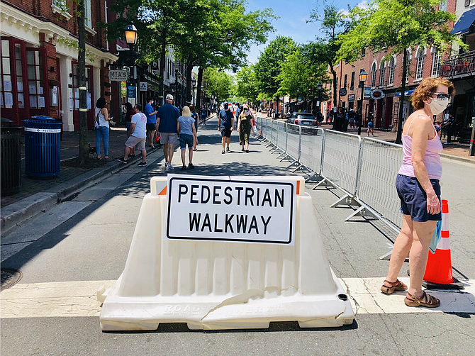 The 100 block of King Street will be closed to traffic every day through Phase One, an experiment to see if the extra space will facilitate social distancing for outdoor dining and pedestrian traffic.