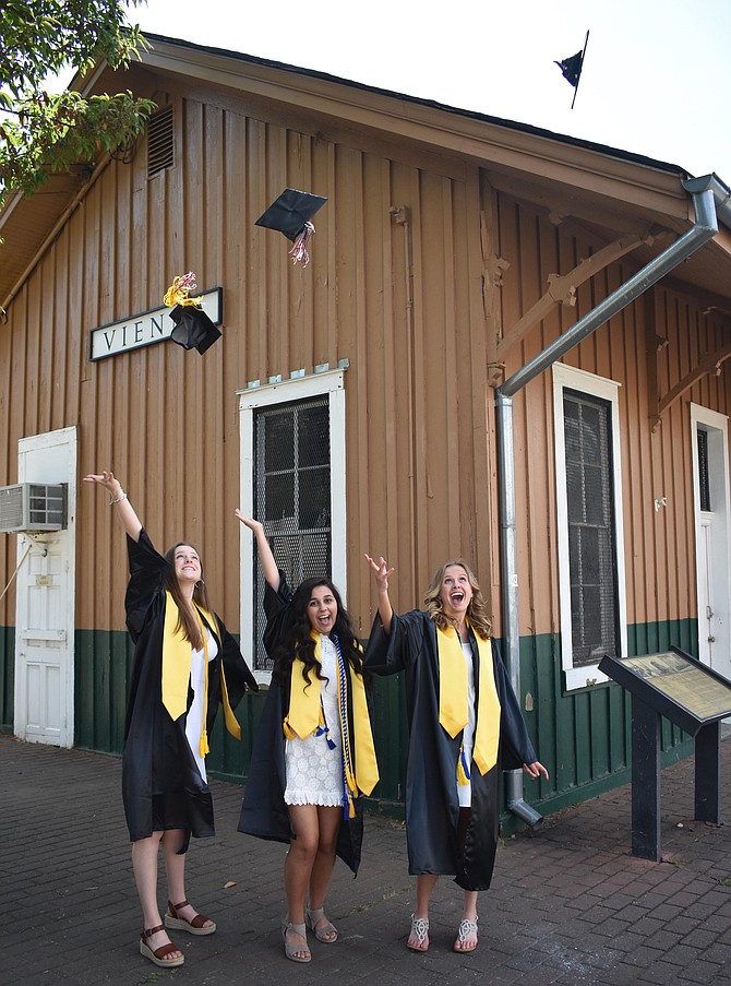 Elizabeth O'Brien of Vienna (left) pictured with her best friends celebrating their graduation from James Madison High School.