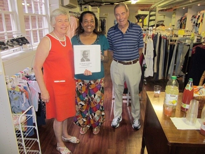 Ronda Gilliam Clothing Bank, from 2016. Left is Annette Reilly, manager of the clothing bank. Next is Ronda Gilliam's god-daughter and a friend.