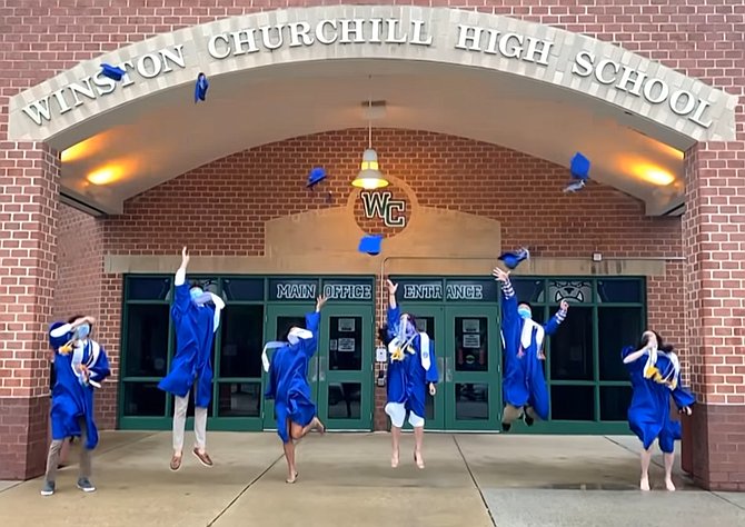 Senior class officers from Winston Churchill High School throw their caps in the air and jump in celebration at the end of the school's virtual graduation ceremony June 9. Andrew Jin, Lydia Lehr, William Ahn, Madison Cuthbert, Charlie Teixeria, Yunice Pyo and Nikka Givpoor.