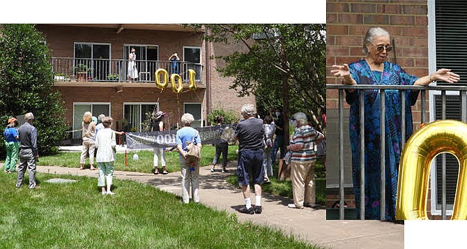 Friends from nearby Lewinsville Presbyterian Church gathered (at six-foot intervals) beneath McLean resident Lucille Quinn's balcony with balloons, cake, banners and flowers to make sure the day was remembered properly, and Happy Birthday was sung accompanied by a trumpet.