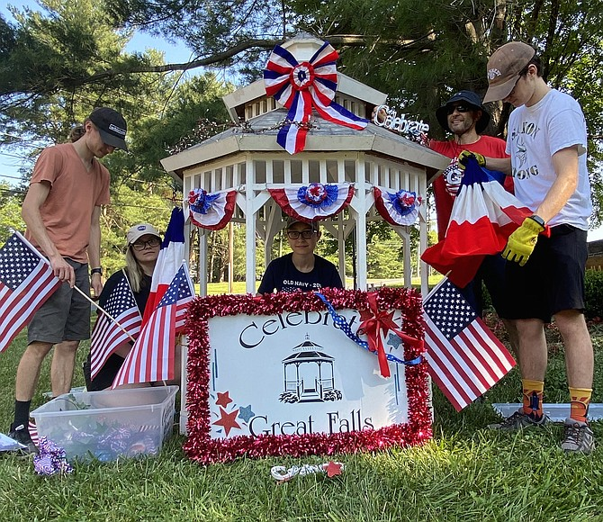 The iconic Celebrate Great Falls Foundation gazebo rests on real grass, not a flatbed truck, for the 2020 Great Falls Drive-Thru July 4th Celebration produced by Celebrate Great Falls Foundation.
