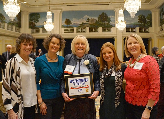 In 2017, after being awarded Washingtonian of the Year, Darlene Williamson (center), founder of the Stroke Comeback Center, is joined by her staff (from left): Julie McGraw, Financial Director; Melissa Richman, Virtual Center Coordinator; Amy Georgeadis, Program Director; and Suzanne Coyle, new Executive Director.