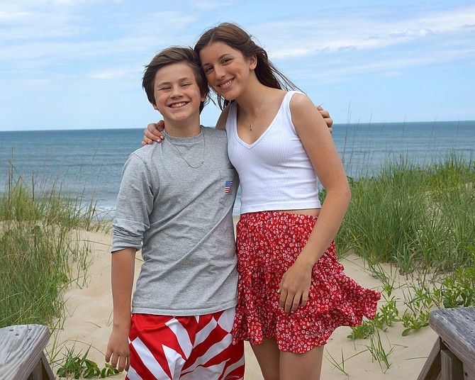 Elizabeth Rothenberger at the beach with her brother Chris.